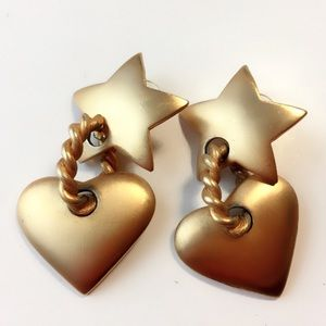 Gold Plated Star Rope Dangling Heart Earrings